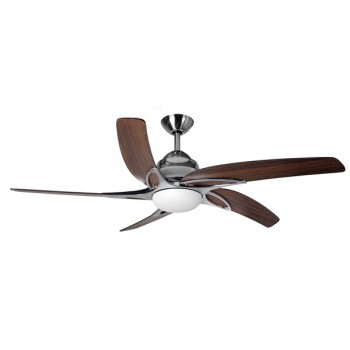 Fantasia Viper Plus 54 inch Remote Reverse Stainless Steel Ceiling Fan with Dark Oak Blades and Light