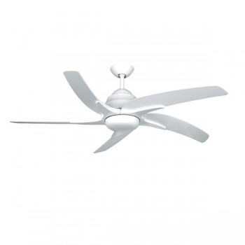 Fantasia Viper Plus 54 inch Remote Reverse White Ceiling Fan with Gloss White Blades and LED Light