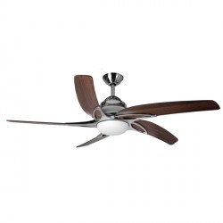 Fantasia Viper Plus 54 inch Remote Reverse Stainless Steel Ceiling Fan with Dark Oak Blades and LED Light