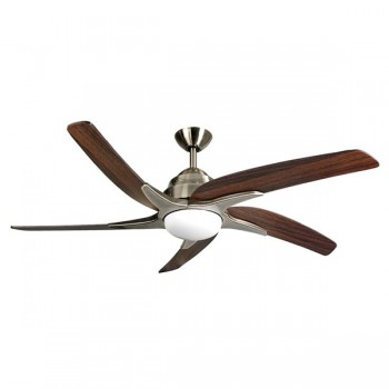 Fantasia Viper Plus 54 inch Remote Reverse Antique Brass Ceiling Fan with Dark Oak Blades and LED Light