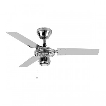 Fantasia EuroFans Kroma 36 inch Pull Cord Chrome Ceiling Fan with Stainless Steel Blades