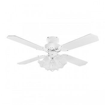 Fantasia EuroFans Rio 36 inch Pull Cord White Ceiling Fan with White Blades and Light