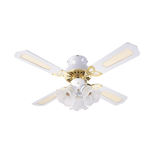 Fantasia Eurofans Rio 42 Inch Pull Cord White And Brass Ceiling Fan With Cane Blades Light