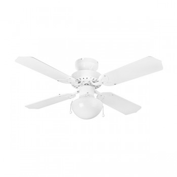 Fantasia EuroFans Rimini 42 inch Pull Cord White Ceiling Fan with White/White and Cane Blades and Light