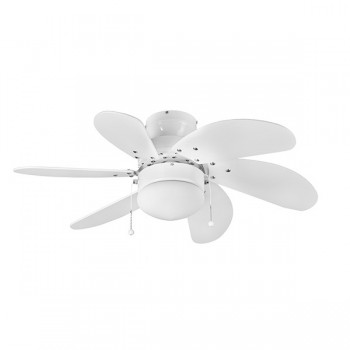 Fantasia EuroFans Atlanta 30 inch Pull Cord White Ceiling Fan with White Blades and Light