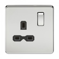Knightsbridge Screwless Polished Chrome 13A 1 Gang DP Switched Socket - Black Insert