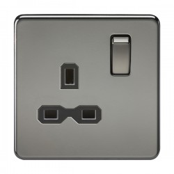 Knightsbridge Screwless Black Nickel 13A 1 Gang DP Switched Socket - Black Insert