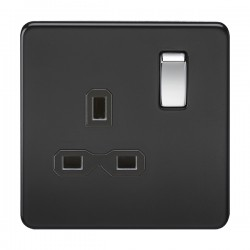 Knightsbridge Screwless Matt Black and Chrome 13A 1 Gang DP Switched Socket - Black Insert