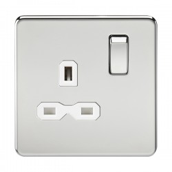Knightsbridge Screwless Polished Chrome 13A 1 Gang DP Switched Socket - White Insert