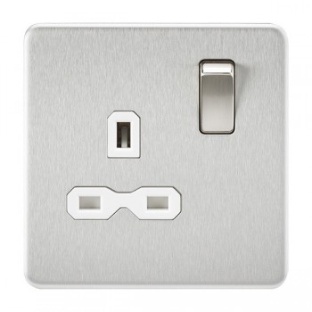 Knightsbridge Screwless Brushed Chrome 13A 1 Gang DP Switched Socket - White Insert