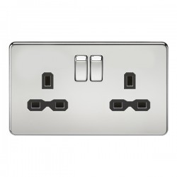 Knightsbridge Screwless Polished Chrome 13A 2 Gang DP Switched Socket - Black Insert