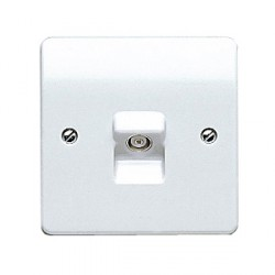 MK Electric Logic Plus™ White 1 Gang Non-Isolated TV/FM Coaxial Socket