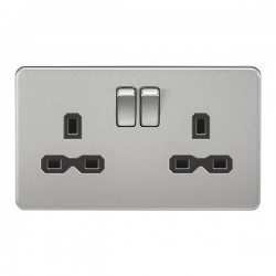 Knightsbridge Screwless Brushed Chrome 13A 2 Gang DP Switched Socket - Black Insert