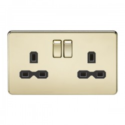 Knightsbridge Screwless Polished Brass 13A 2 Gang DP Switched Socket - Black Insert