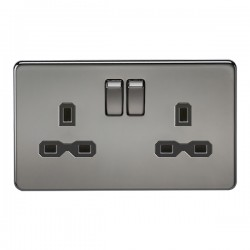 Knightsbridge Screwless Black Nickel 13A 2 Gang DP Switched Socket - Black Insert