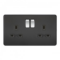 Knightsbridge Screwless Matt Black and Chrome 13A 2 Gang DP Switched Socket - Black Insert