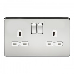 Knightsbridge Screwless Polished Chrome 13A 2 Gang DP Switched Socket - White Insert