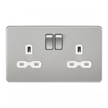 Knightsbridge Screwless Brushed Chrome 13A 2 Gang DP Switched Socket - White Insert