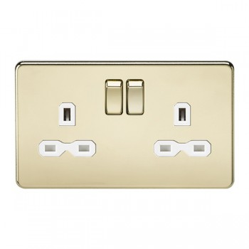 Knightsbridge Screwless Polished Brass 13A 2 Gang DP Switched Socket - White Insert