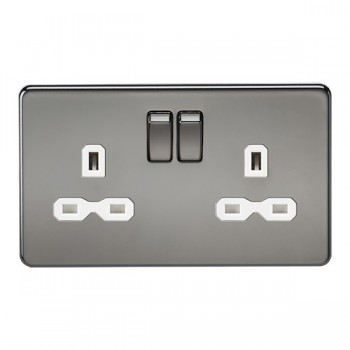 Knightsbridge Screwless Black Nickel 13A 2 Gang DP Switched Socket - White Insert