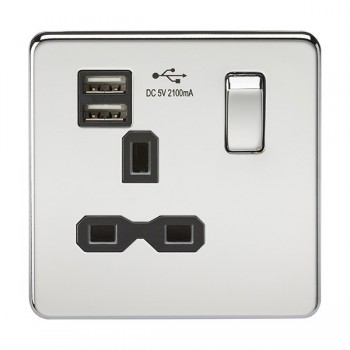 Knightsbridge Screwless Polished Chrome 13A 1 Gang Switched Socket with Dual USB Charger - Black Insert