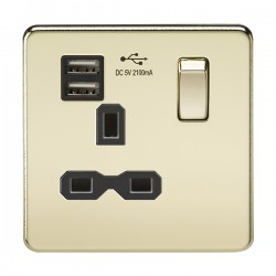 Knightsbridge Screwless Polished Brass 13A 1 Gang Switched Socket with Dual USB Charger - Black Insert