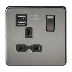 Knightsbridge Screwless Black Nickel 13A 1 Gang Switched Socket with Dual USB Charger - Black Insert