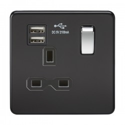 Knightsbridge Screwless Matt Black and Chrome 13A 1 Gang Switched Socket with Dual USB Charger - Black Insert