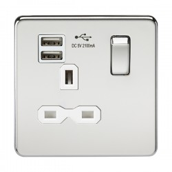 Knightsbridge Screwless Polished Chrome 13A 1 Gang Switched Socket with Dual USB Charger - White Insert