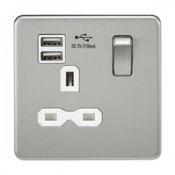 Knightsbridge Screwless Brushed Chrome 13A 1 Gang Switched Socket with Dual USB Charger - White Insert