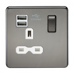 Knightsbridge Screwless Black Nickel 13A 1 Gang Switched Socket with Dual USB Charger - White Insert