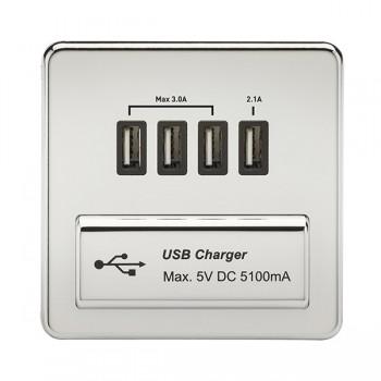 Knightsbridge Screwless Polished Chrome 1 Gang Quad USB Charger Outlet - Black Insert