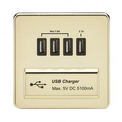 Knightsbridge Screwless Polished Brass 1 Gang Quad USB Charger Outlet - Black Insert