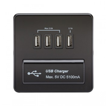 Knightsbridge Screwless Matt Black 1 Gang Quad USB Charger Outlet - Black Insert