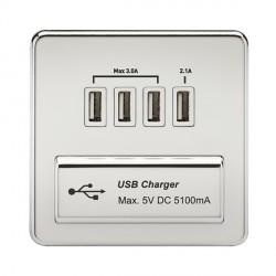 Knightsbridge Screwless Polished Chrome 1 Gang Quad USB Charger Outlet - White Insert