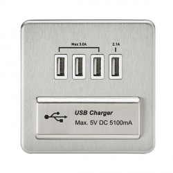 Knightsbridge Screwless Brushed Chrome 1 Gang Quad USB Charger Outlet - White Insert