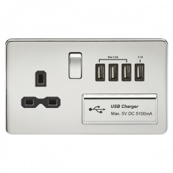 Knightsbridge Screwless Polished Chrome 13A Switched Socket with Quad USB Charger - Black Insert
