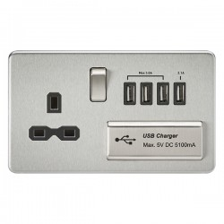 Knightsbridge Screwless Brushed Chrome 13A Switched Socket with Quad USB Charger - Black Insert