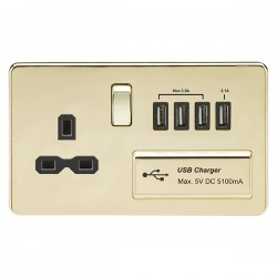 Knightsbridge Screwless Polished Brass 13A Switched Socket with Quad USB Charger - Black Insert