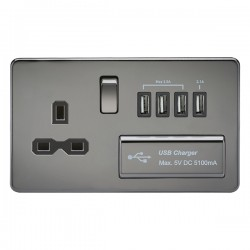 Knightsbridge Screwless Black Nickel 13A Switched Socket with Quad USB Charger - Black Insert