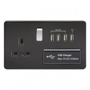 Knightsbridge Screwless Matt Black and Chrome 13A Switched Socket with Quad USB Charger - Black Insert