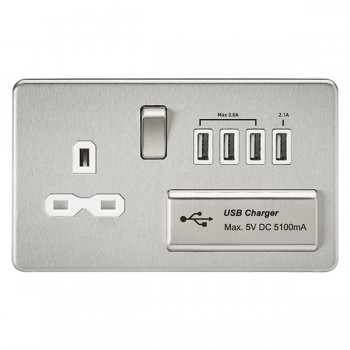 Knightsbridge Screwless Brushed Chrome 13A Switched Socket with Quad USB Charger - White Insert