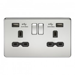 Knightsbridge Screwless Polished Chrome 2 Gang 13A Switched Socket with Dual USB Charger - Black Insert