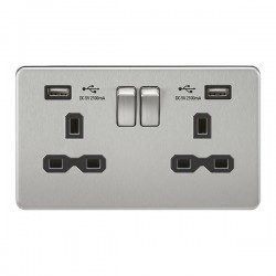 Knightsbridge Screwless Brushed Chrome 2 Gang 13A Switched Socket with Dual USB Charger - Black Insert