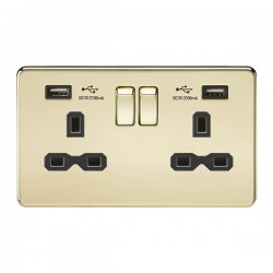 Knightsbridge Screwless Polished Brass 2 Gang 13A Switched Socket with Dual USB Charger - Black Insert