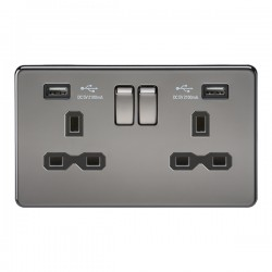 Knightsbridge Screwless Black Nickel 2 Gang 13A Switched Socket with Dual USB Charger - Black Insert