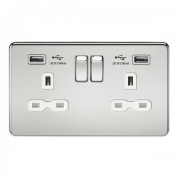 Knightsbridge Screwless Polished Chrome 2 Gang 13A Switched Socket with Dual USB Charger - White Insert