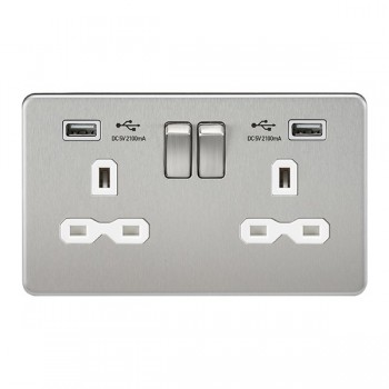 Knightsbridge Screwless Brushed Chrome 2 Gang 13A Switched Socket with Dual USB Charger - White Insert