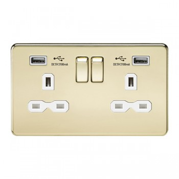 Knightsbridge Screwless Polished Brass 2 Gang 13A Switched Socket with Dual USB Charger - White Insert