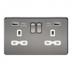 Knightsbridge Screwless Black Nickel 2 Gang 13A Switched Socket with Dual USB Charger - White Insert